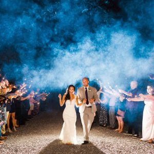 smoky blue wedding sparkler exit ner chattanooga TN