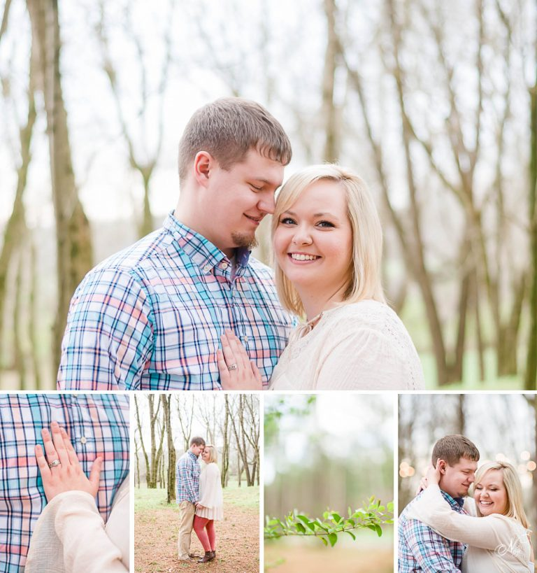 sPRING ENGAGEMENT AT HIWASSEE RIVER WEDDINGS WEARING PASTELS IN CREAM, CORAL AND BLUE