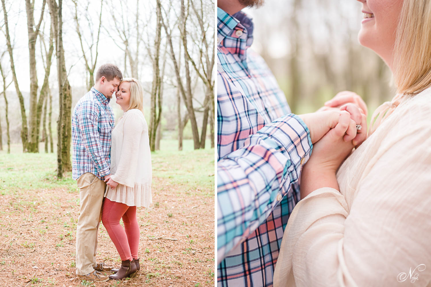 two peoplegetting early spring engagement photos in the pines at Hiwassee River weddings venue. And cllose up of them holding hands.