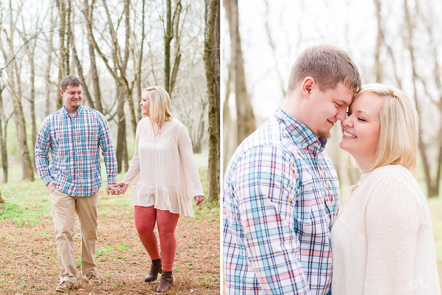 engaged couple walking in woods wearing coral pants and white top. And guy wearing pastel plaid shirt near Cleveland TN