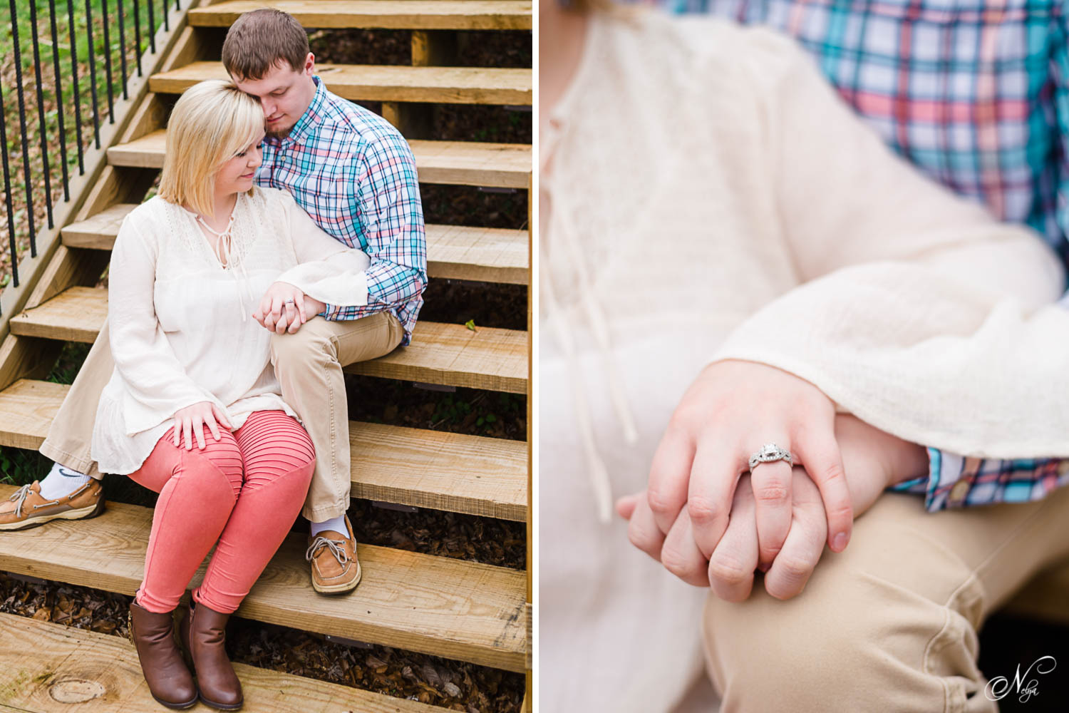 two people sittinghuge stairs at hiwassee river weddings holding hands