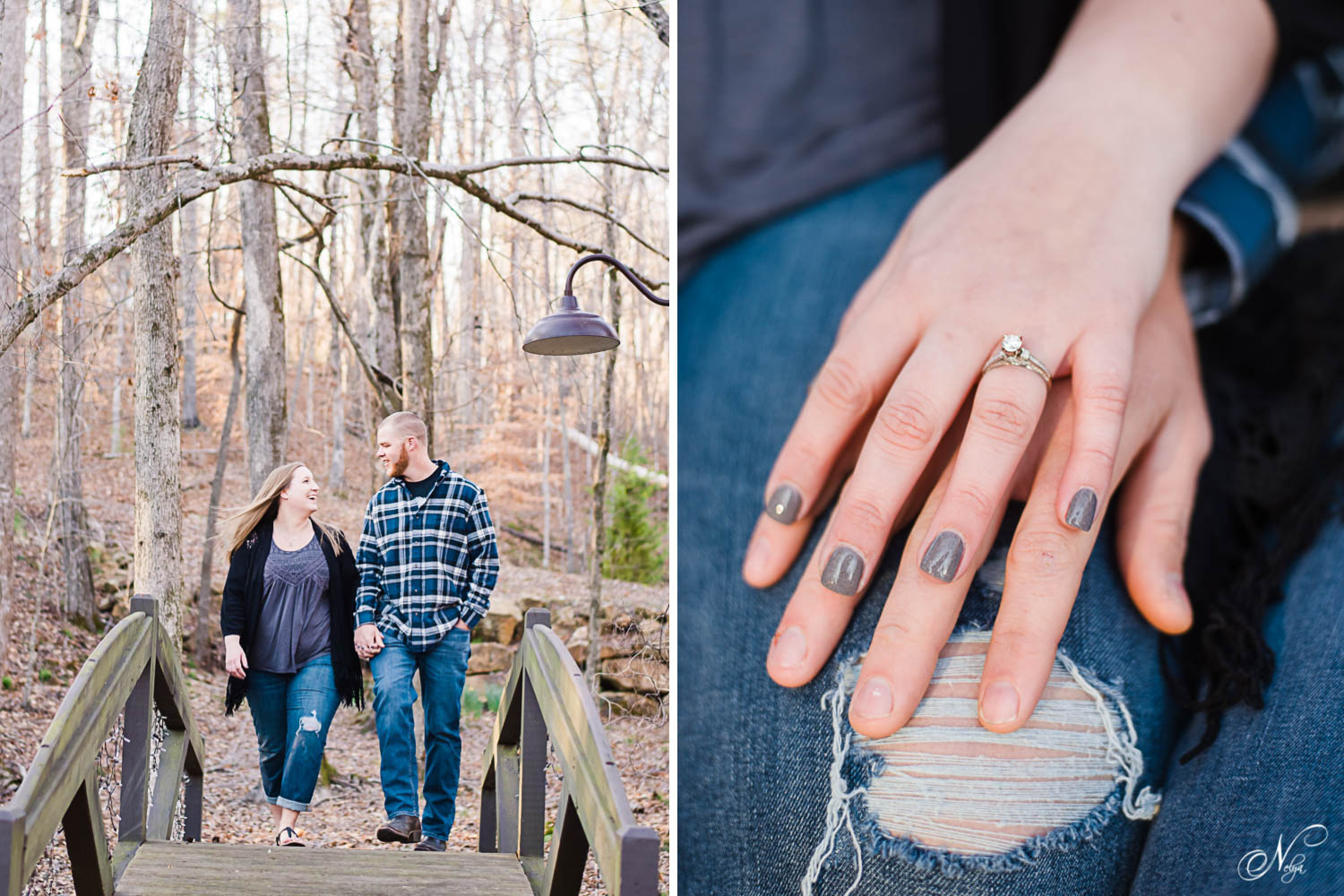 couple walking across wooden bridge laughing at Indigo Falls. And up close photo of couple holding hands and engagement ring