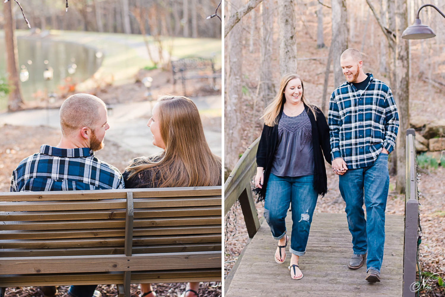 engaged couple sitting on a swing overlooking the water. And walking through woods in the winter