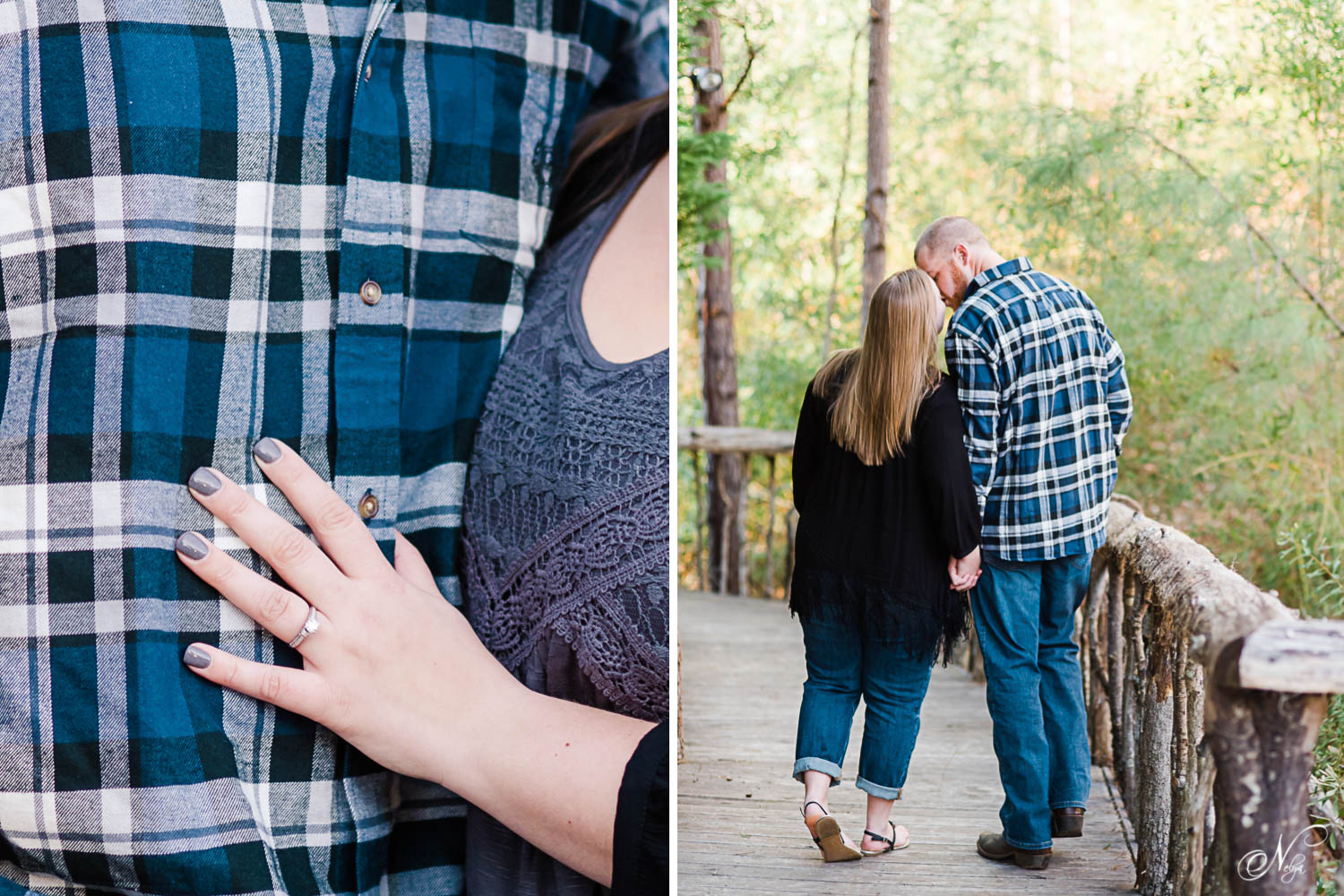colose photo of engagement ring on girl's hand and couple walking on wooden walkway at indigo falls venue