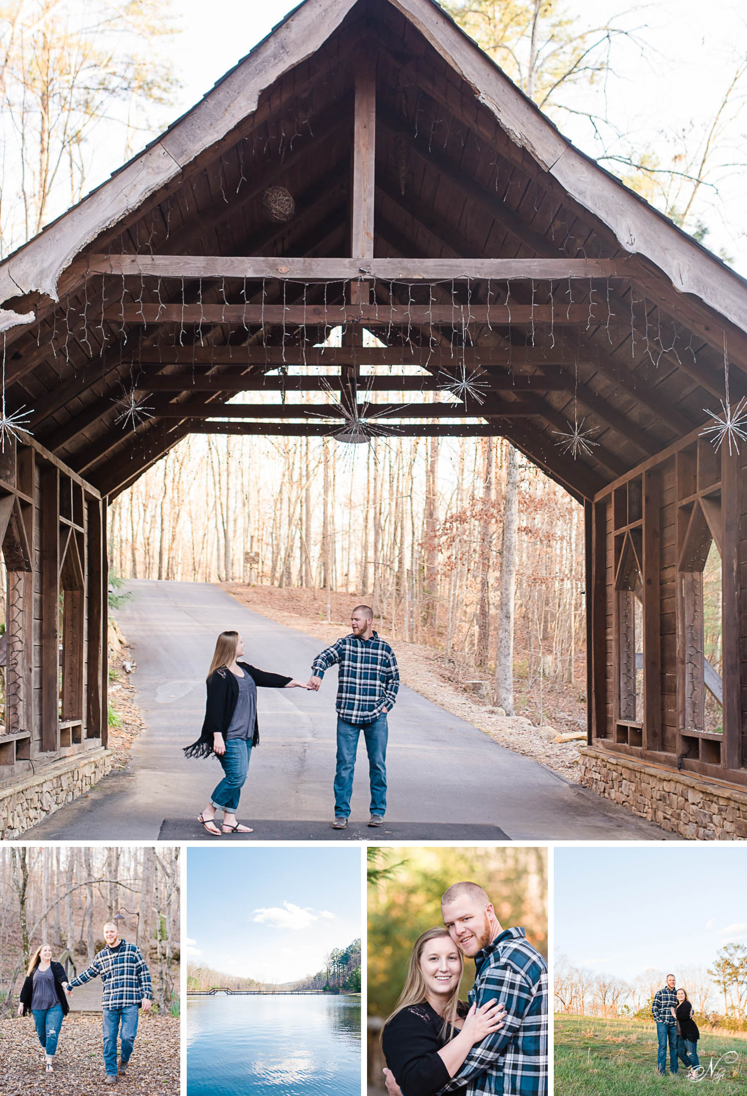 engaged couple dancing under covered bridge at Indigo Falls wedding venue in Dallas GA