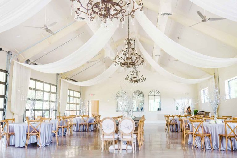 white themed wedding reception venue and decor in Ballground GA