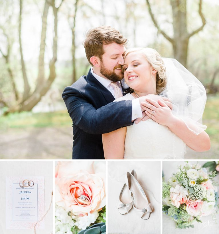 bride and groom at the Hiwassee river in early spring.Wedding invitataion with wedding rings sitting on it. bouqueat of pink and white flowers. white mini heeled white wedding flats.