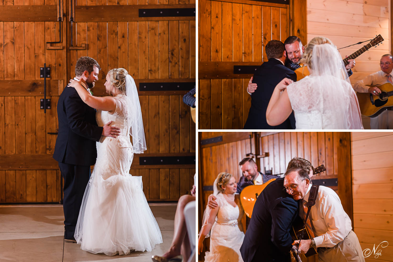 wedding first dance in front of the great big oak doors at Hiwassee River weddings