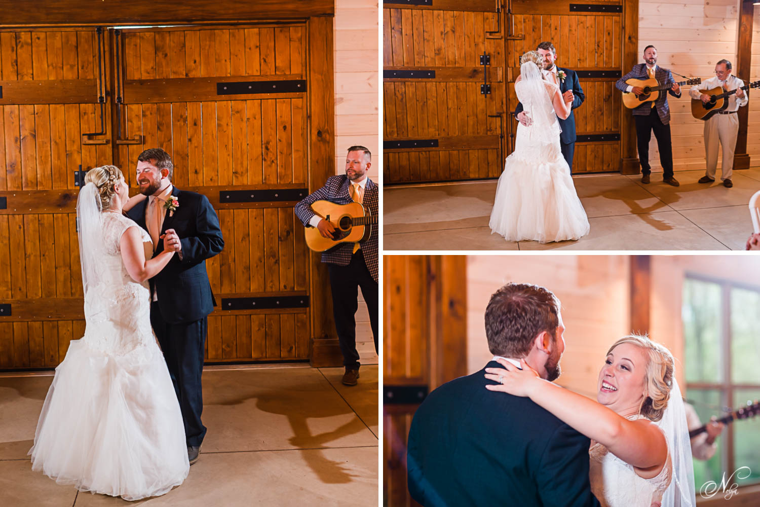 bride and groom dancing to music by two guitars at wedding reception in Delano TN