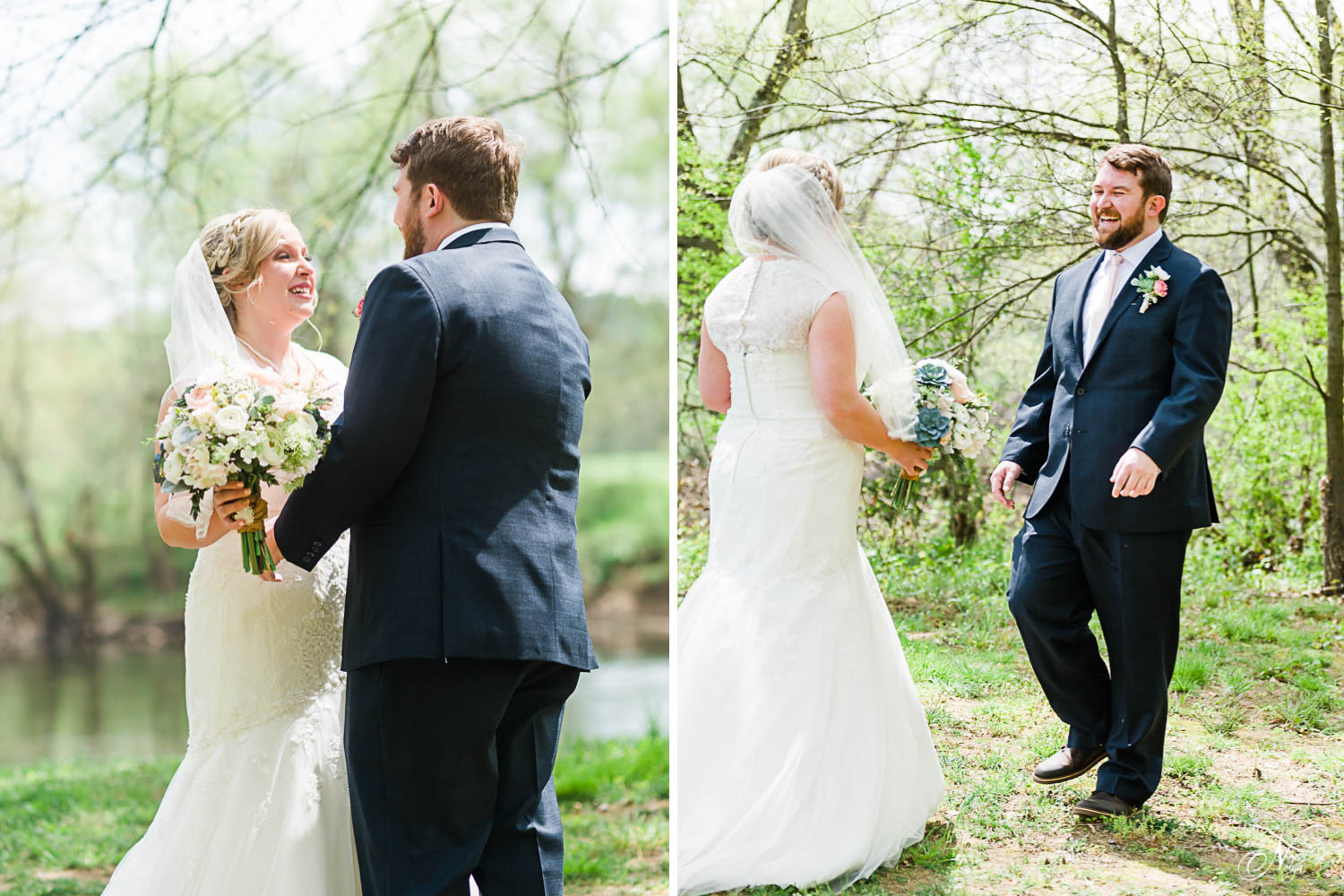 bride and groom walk towards each other smiling happy tears.