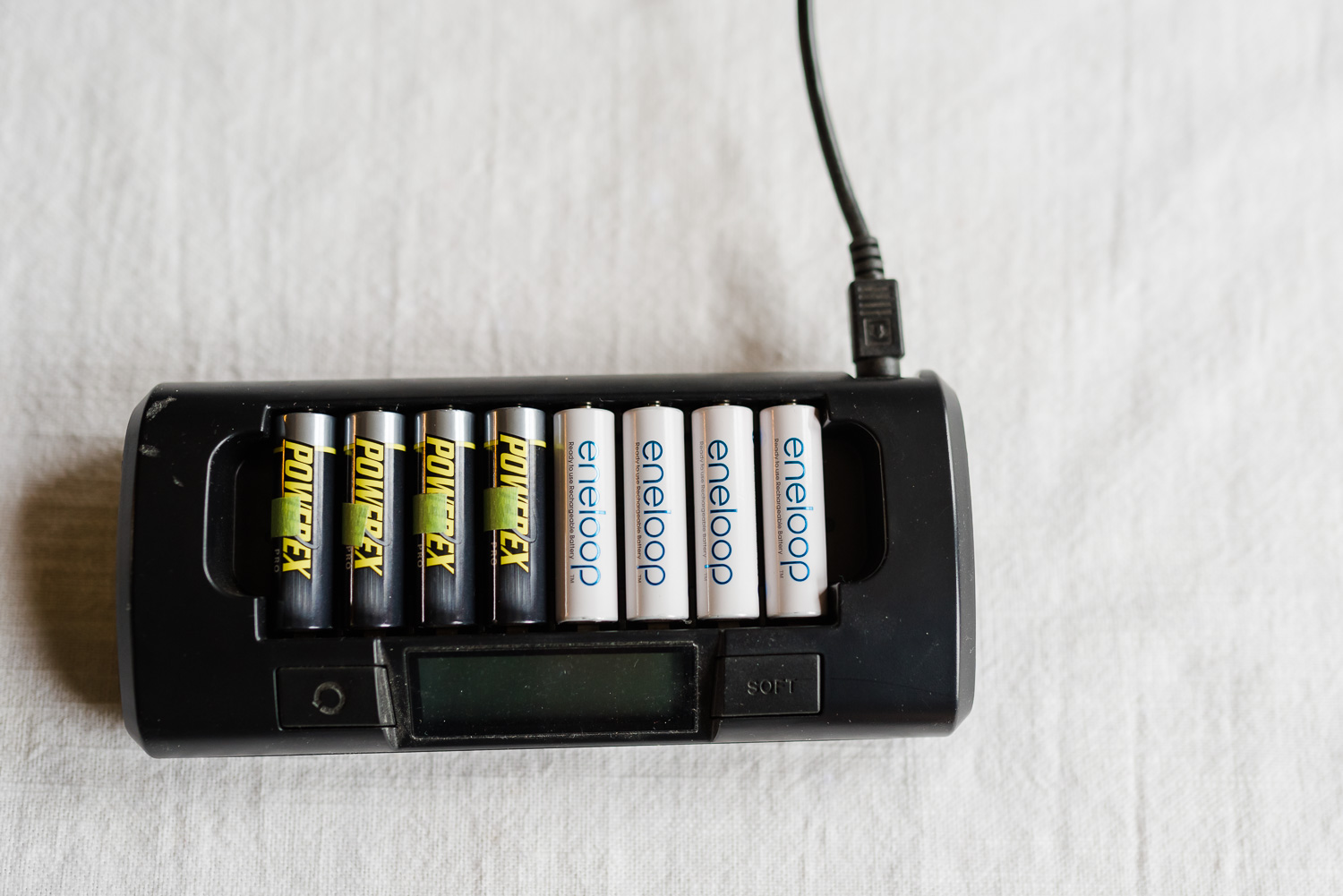 maha battery charger with powerx battery\ies and eneloop batteries