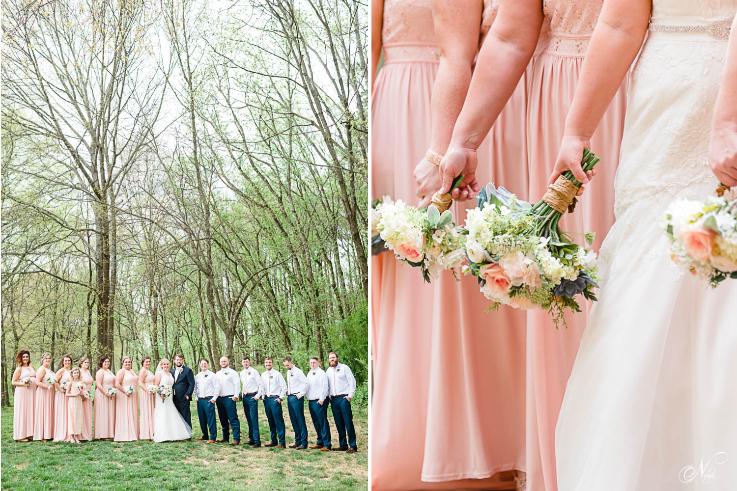 full large wedding party under tall trees by the river in east TN. And coral bridesmaids dresses.