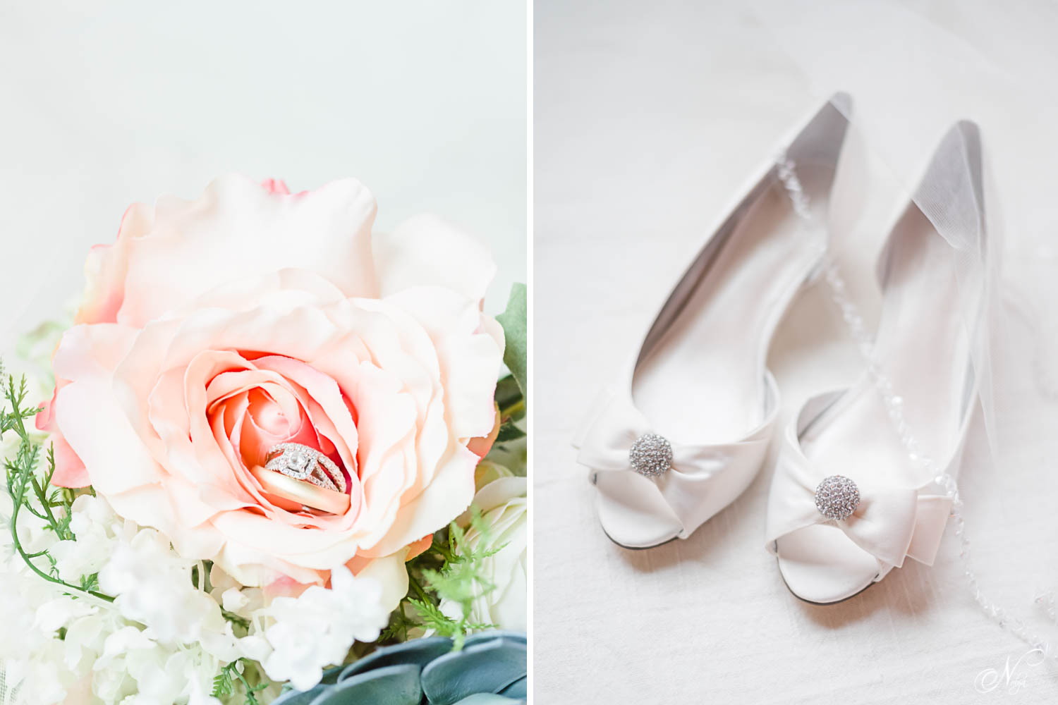wedding ring in a pink rose and white wedding shoes with silver emblem on toe
