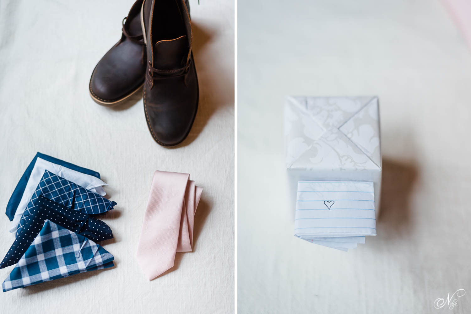 groom's leather shoes, blush colored necktie from Belk. And a wrapped gift for the groom from the bride.