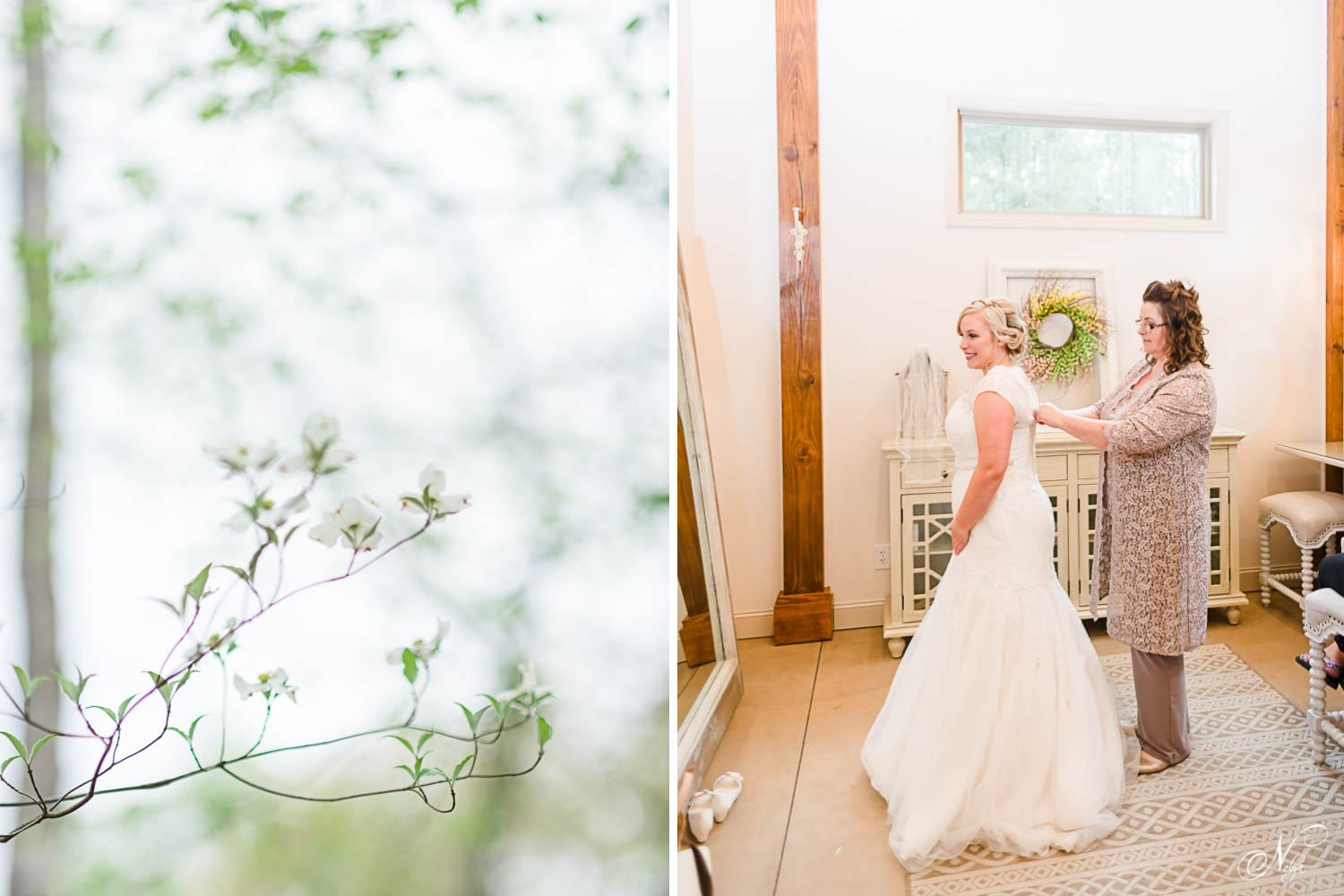 dogwood blossoms. And a bride getting in her wedding dress in the bridal suite at Hiwassee River Weddings