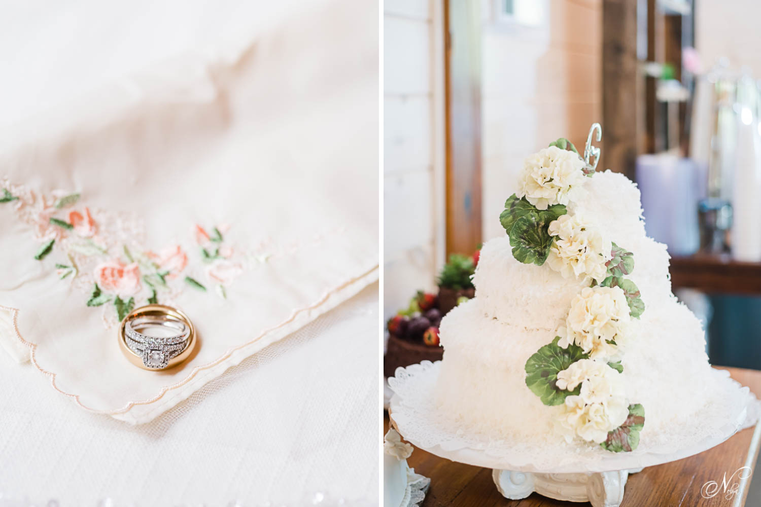 wedding rings on a cream colored vintage handkerchief. And a cocnut three tiered wedding cake with hydrangeas