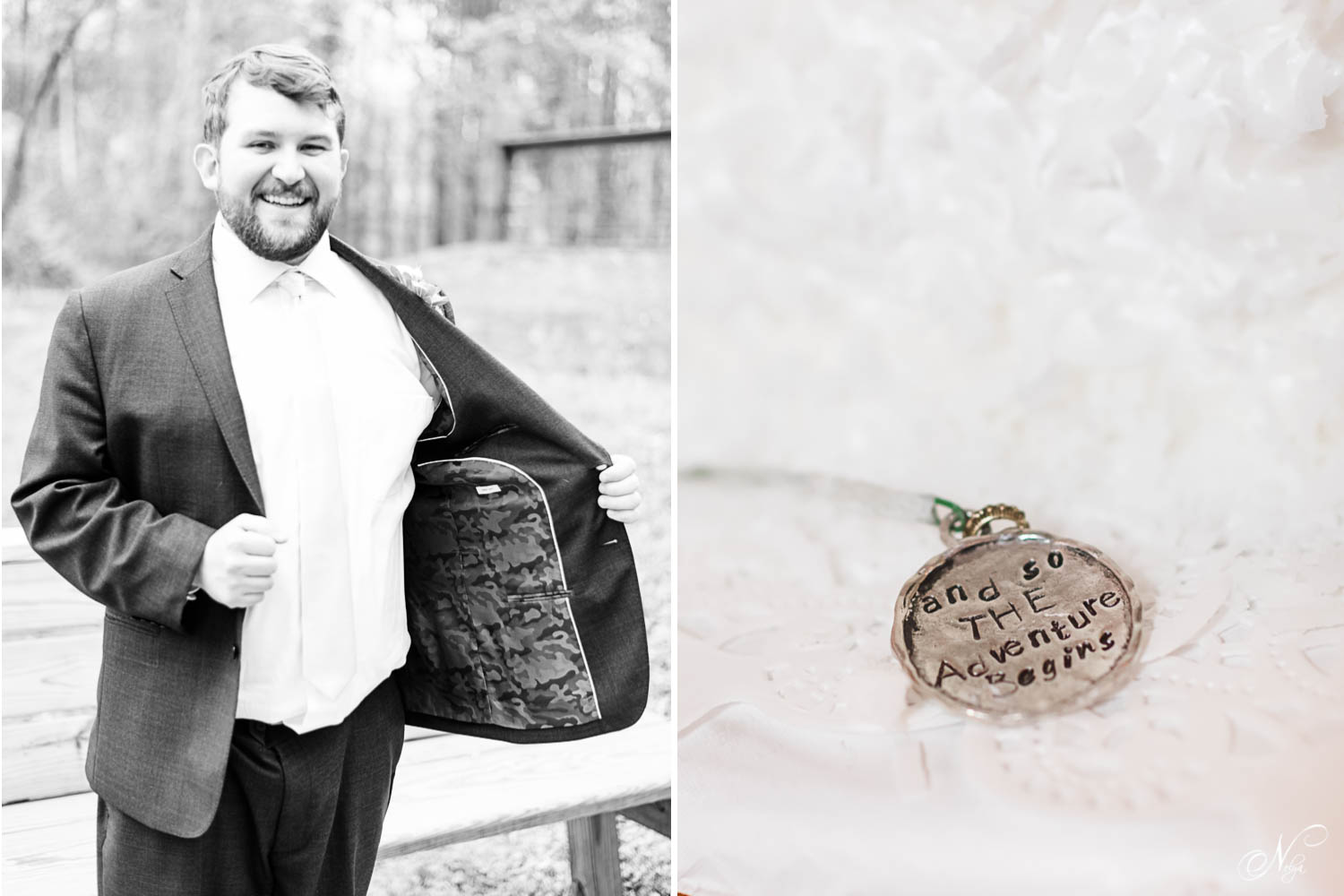 Black and white photo of groom putting on his jacket. And a little handmade medallion that says Let the Adventure begin!