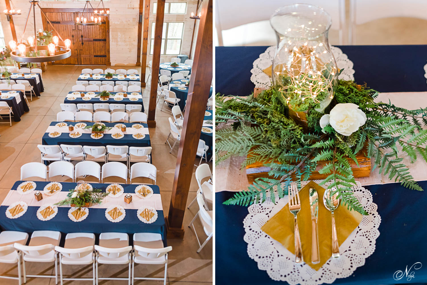 redding reception in navy, greenery and gold at Hiwassee River weddings near Chattanooga TN