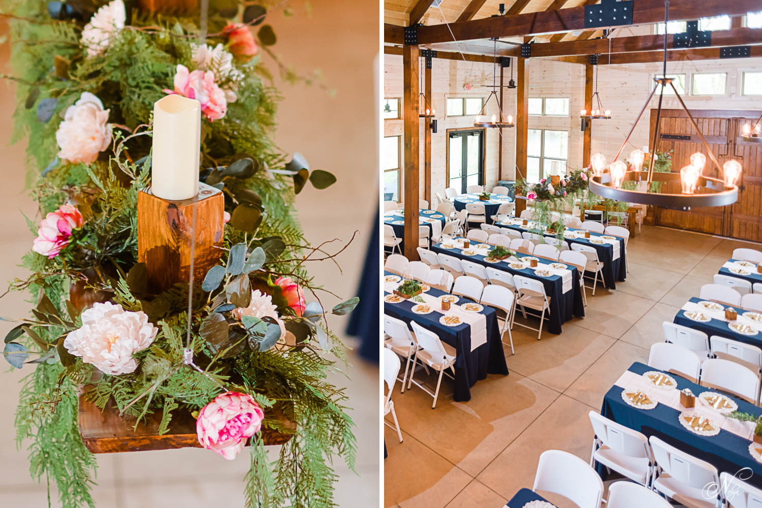 hanging greenery and pink peopnies as reception decor at hiwassee River weddings