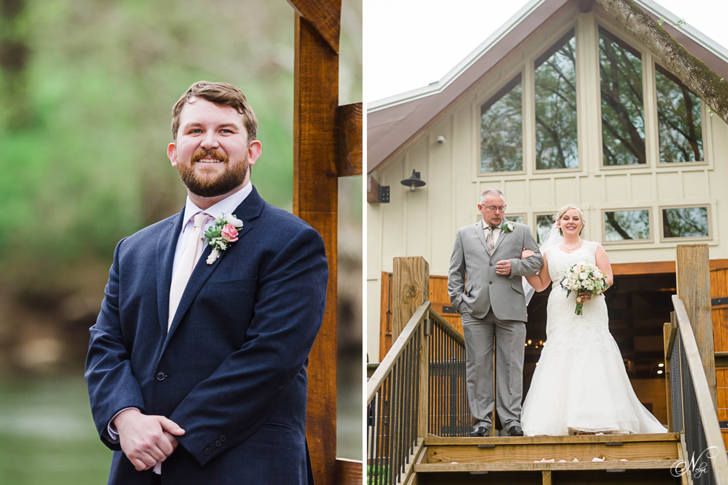 groom seeing his bride walk out the big wooden doors at Hiwassee River weddings venue. And Dad walking his daughter down the big wooden steps to the wedding with everyone watching