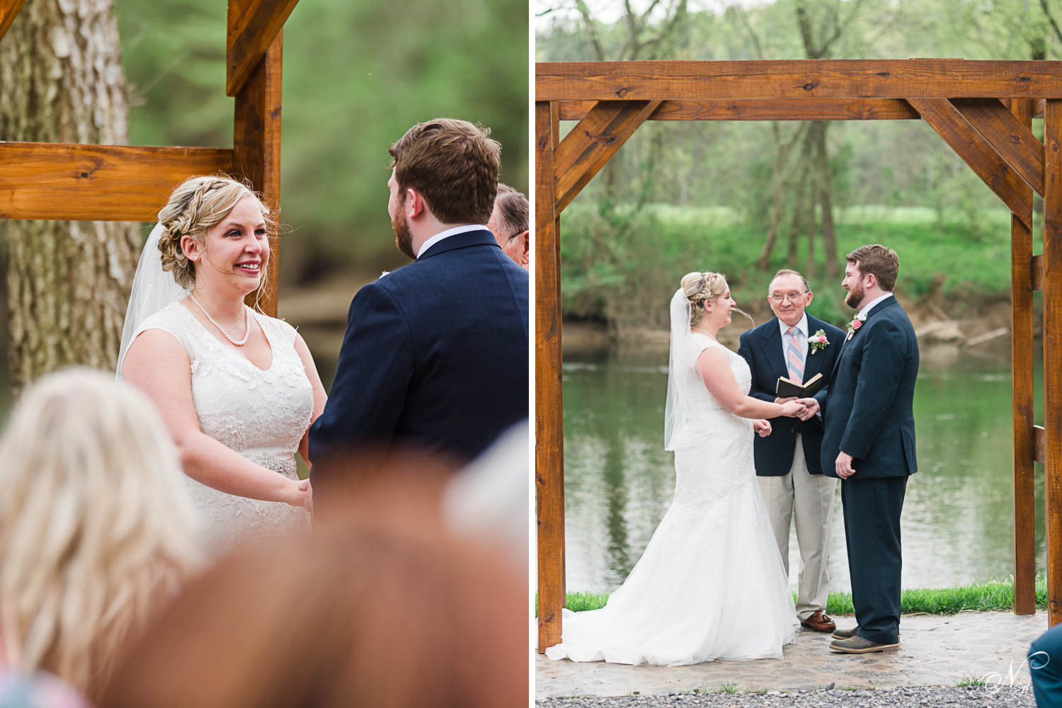 wedding ceremony outside on the river at Hiwassee river weddings