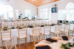 gold chiavari chairs at wedding reception in Kingston GA at White Columns venue.