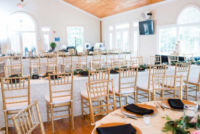 gold chiavari chairs at wedding reception in Kingston GA at White Columns venue.