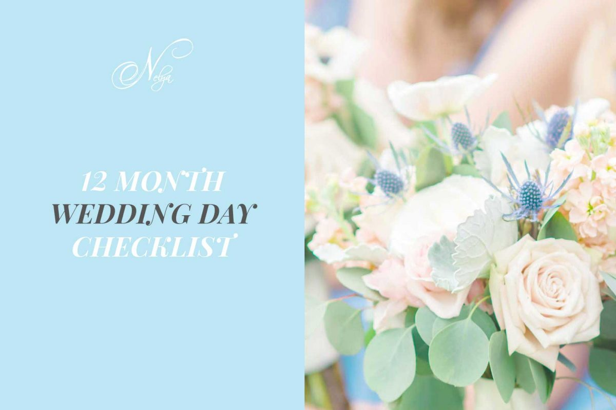 Pastel blue background and gray test. And pale pink wedding bouquet roses.wedding planning checklist freebie