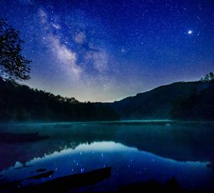 Milky Way reflecting into the Hiwassee River near Webb Brothers rafting in Tennessee