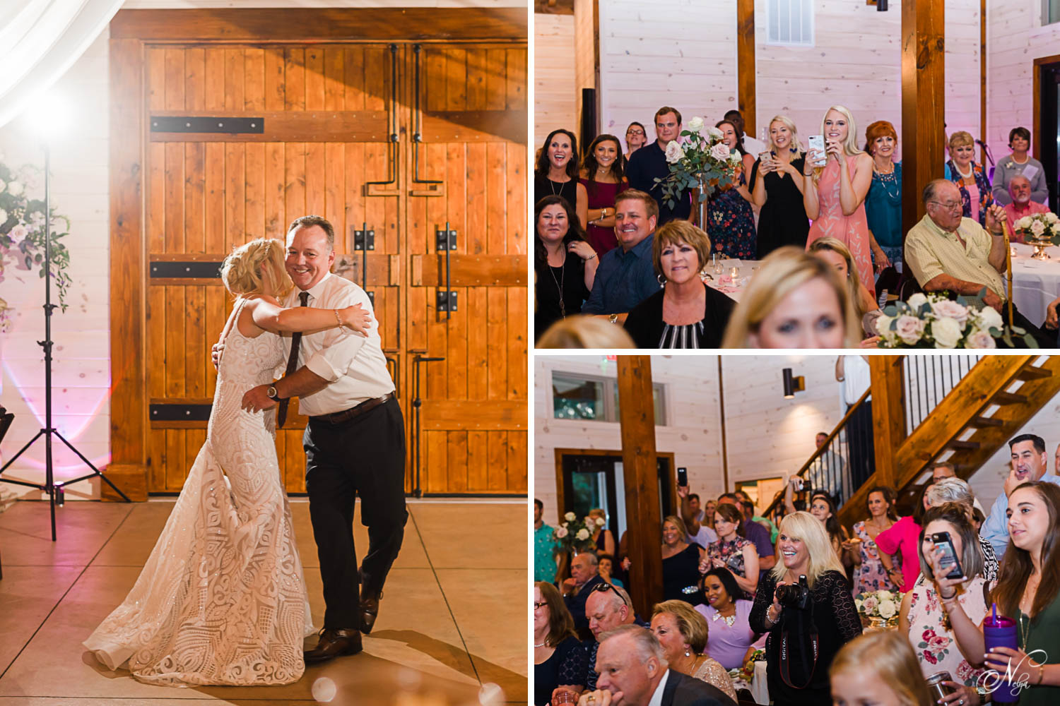 dad hugging his daughter on dancefloor at ther wedding. And wedding reception guests reaction to the father daughter dance they put on.