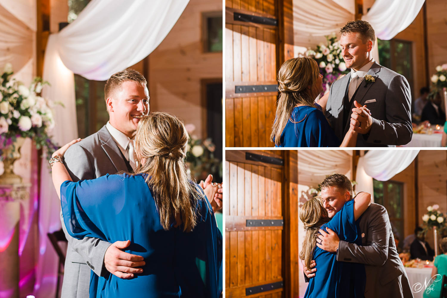 mother and her son dancing athis wedding at Hiwassee River Weddings in Delano TN