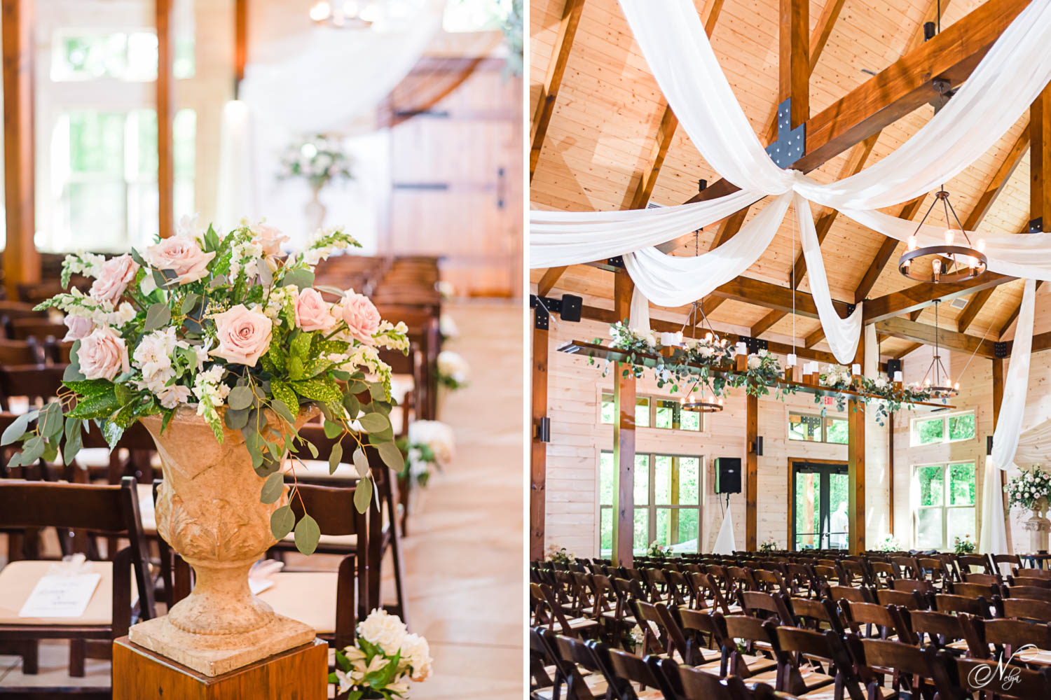 pink rose flower arrangements and wooden folding chairs set up for wedding ceremony inside Hiwassee River Weddings .
