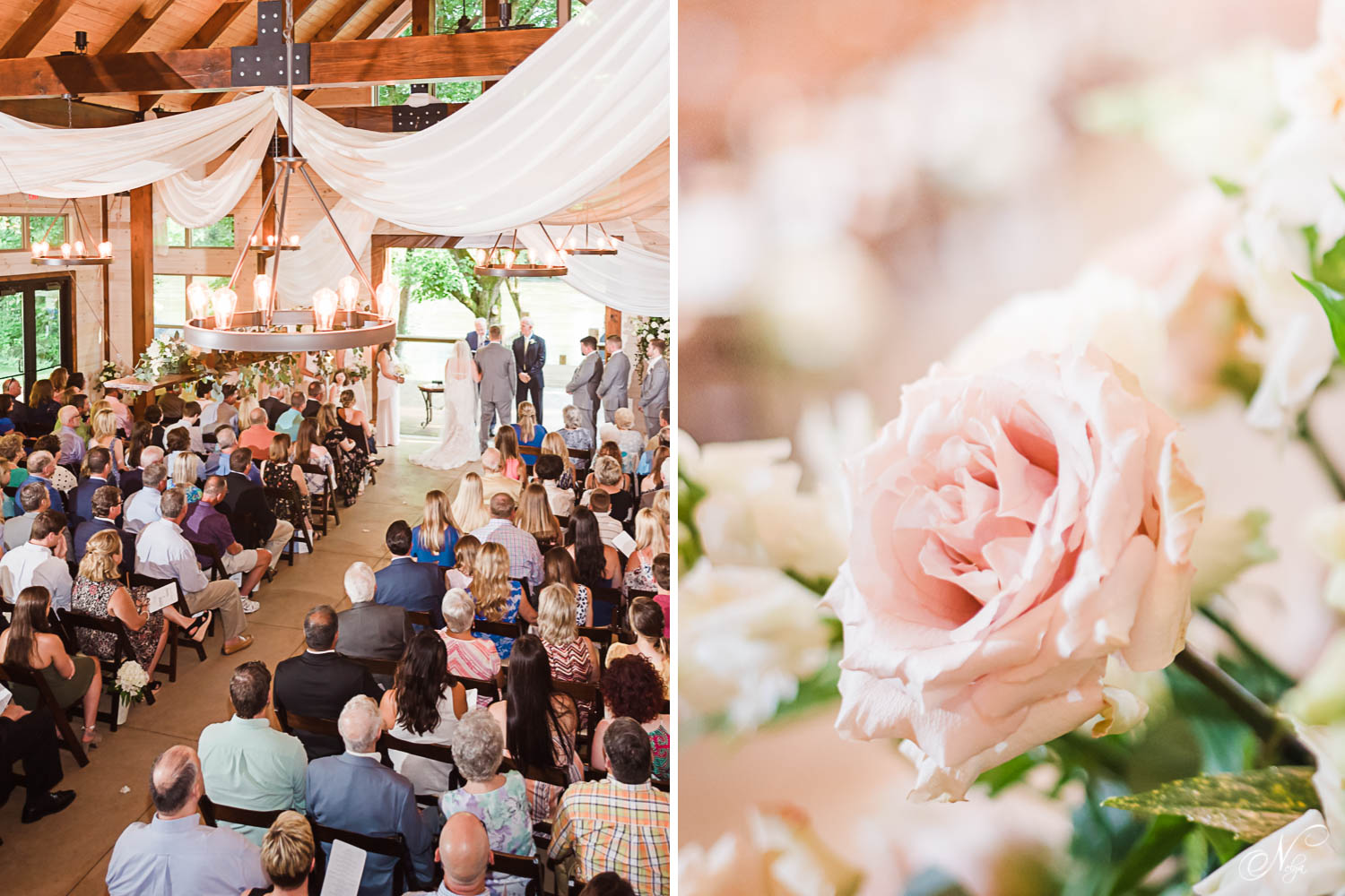 over 200 peopleinside at Hiwassee River Weddings for indoor wedding ceremony. And close up photo of a pink rose