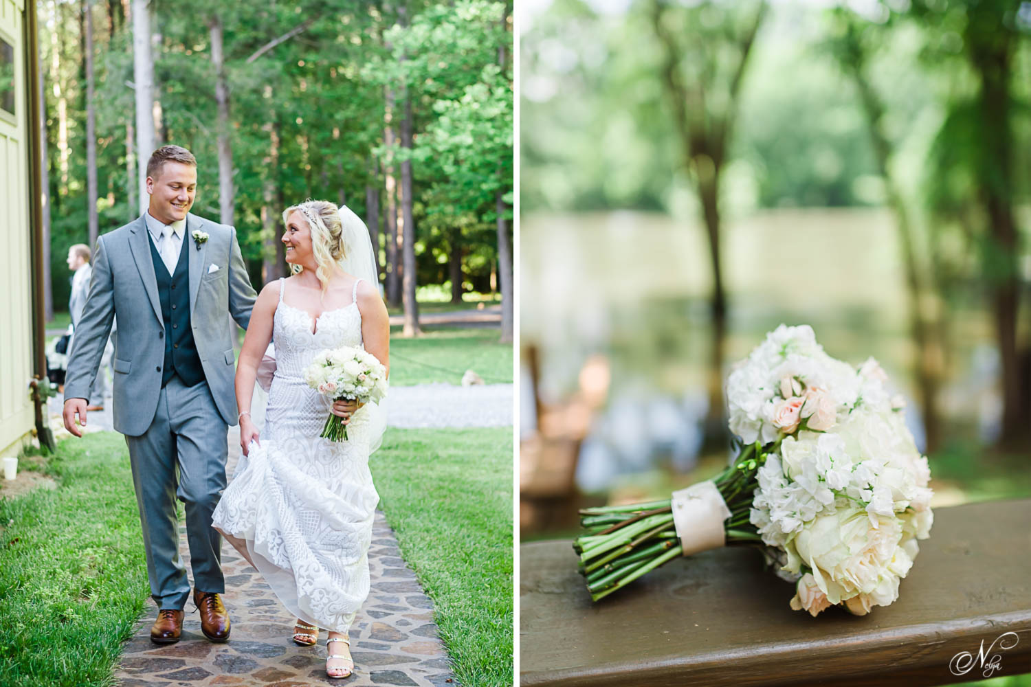 groom helping hold his brides dress from touching the ground at Hiwassee River weddings at their june wedding. And white rose bouquet with river in the background.