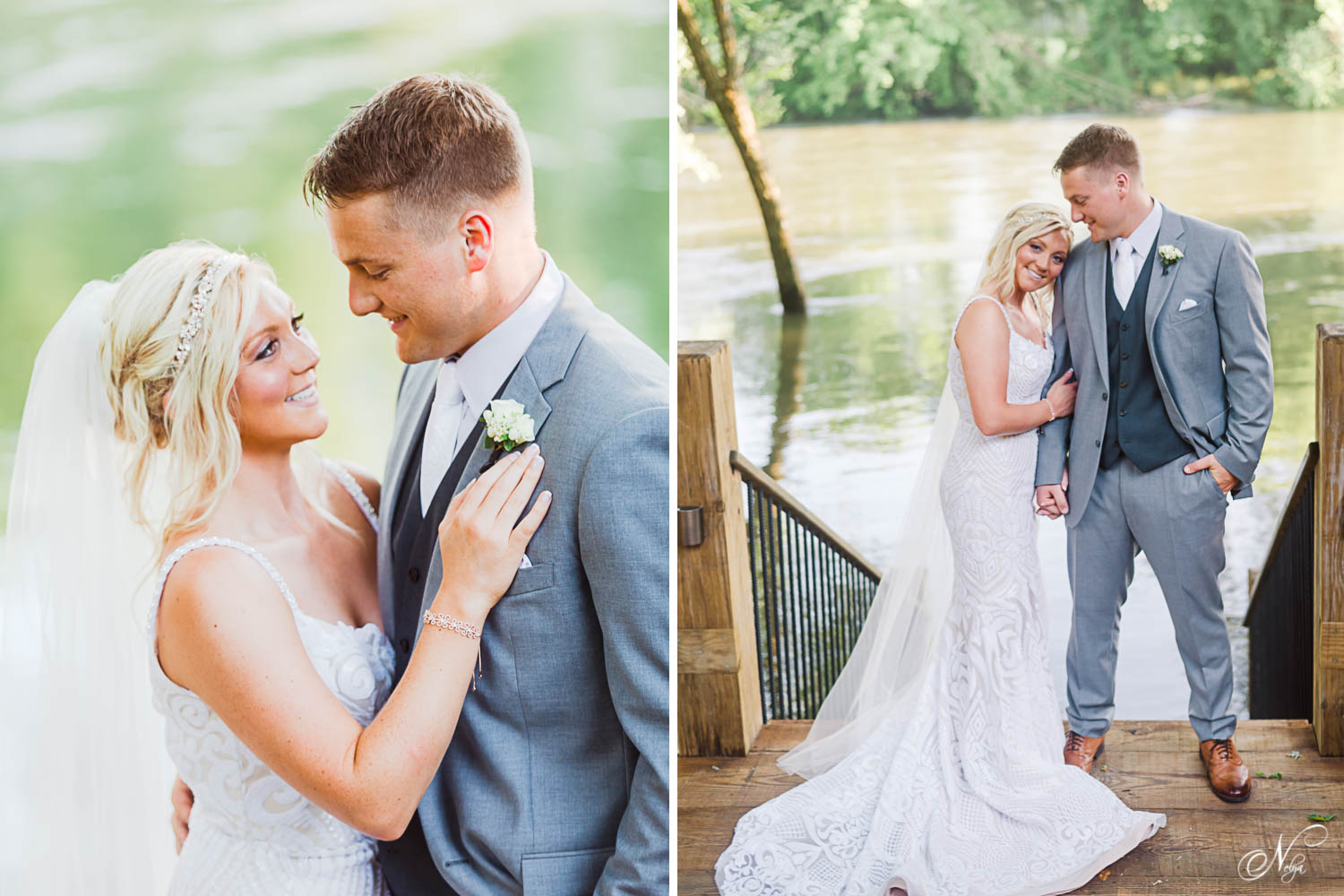 bride and groomstanding in front of the Hiwassee River in early june