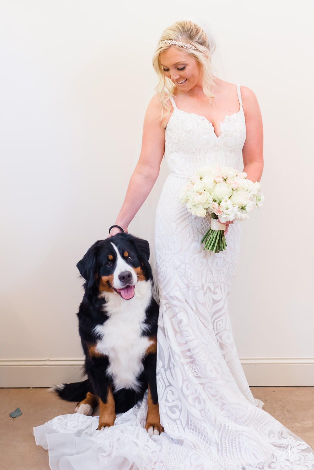 Bride with herdog of honor at her Bernese mountain dog wedding themed wedding