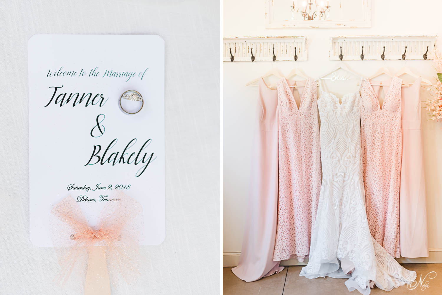 wedding program fans and pink bridesmaids dresses from white lace and promises in Knoxville