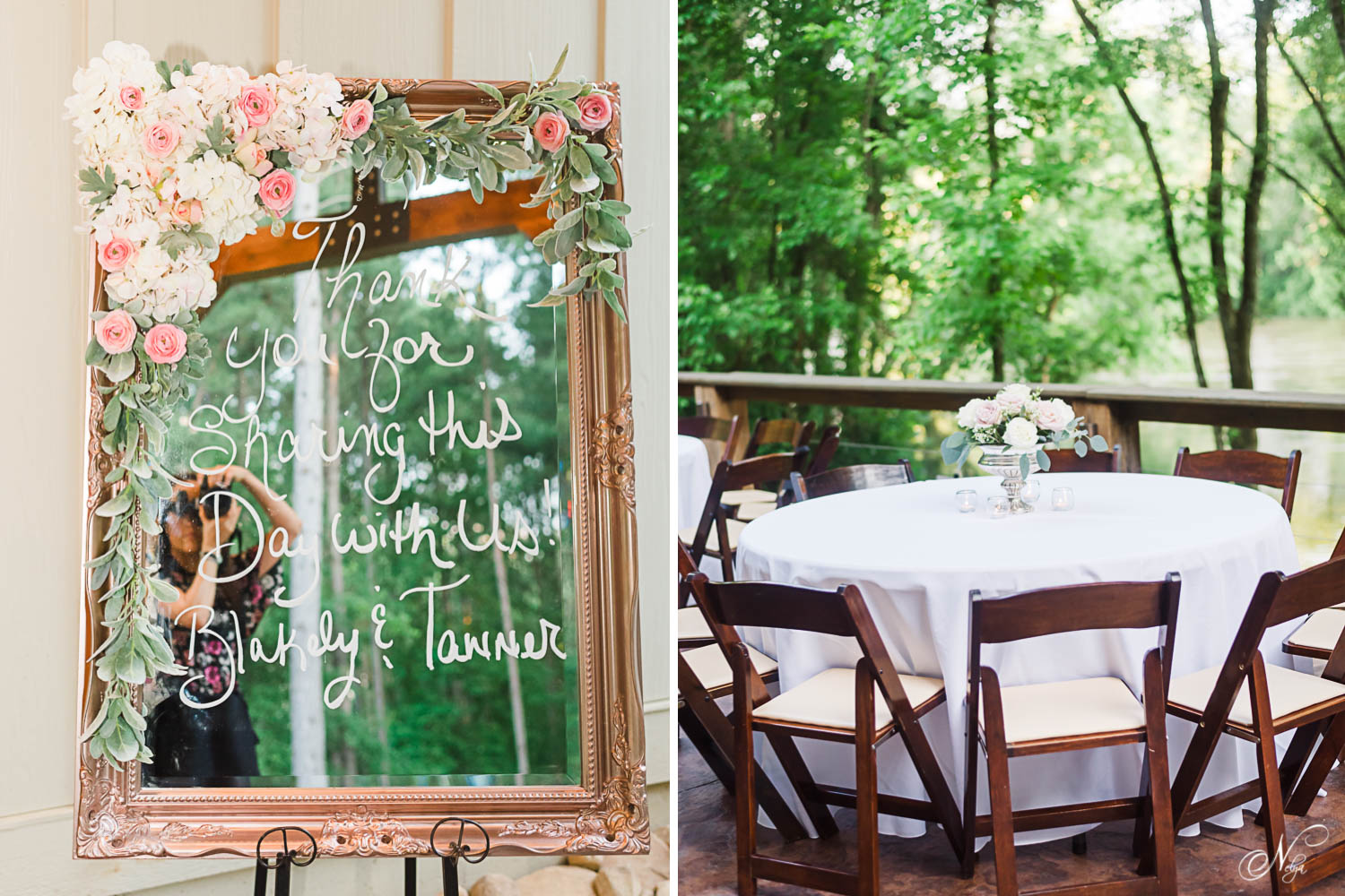 welcome sign written on a mirror with lots of fresh roses decorating the edge. And folding wooden chairs around tables with long white table clothes and floral center pieces on the outside patio at Hiwassee River Weddings