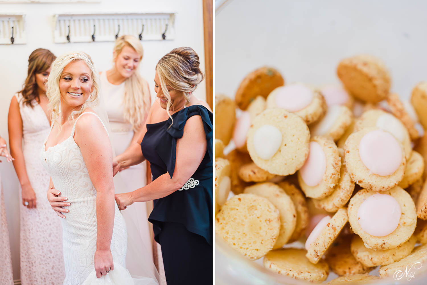 mother of bride in a navy one shoulder dress sipping up bride's wedding dress. And Thumbprint cookies with pink frosting.