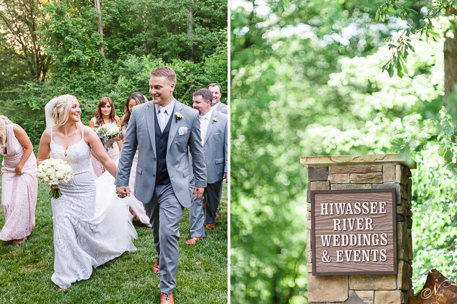 bridal partywalking with bride and groom in front laughing and talking. And stone sign at the entrence to hiwassee river weddings on Moss Road.