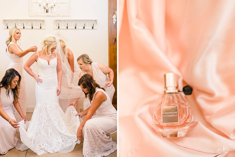 bridesmaids in long blush dresses adjusting bridesdress and veil