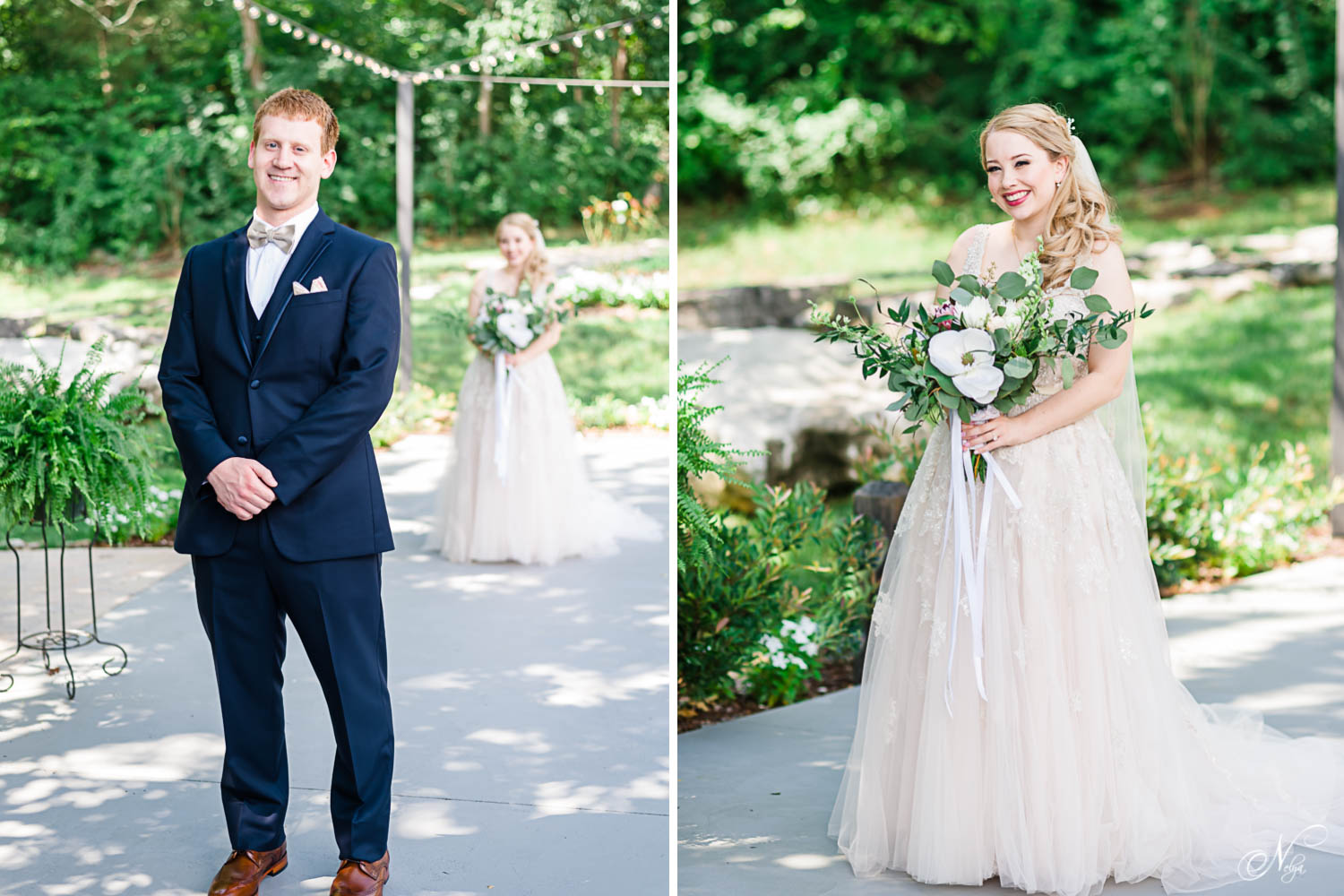 bride and groom in the lovely shaded upper area at The Venue Chattanooga for their first look.