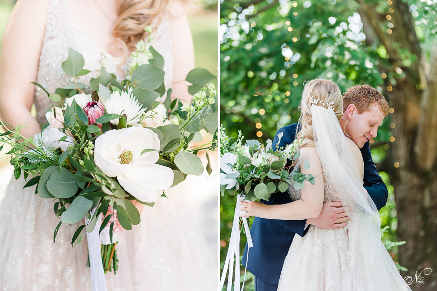 bride's bouquet with huge white flower, and dusty rose colored flowers with greenery.