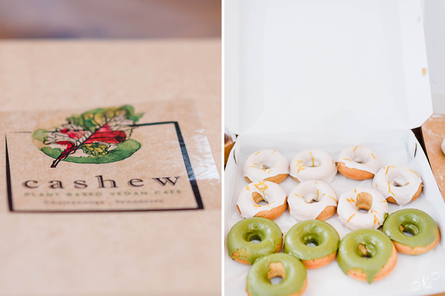 green vegan donuts from Cashew Chattanooga as wedding cake