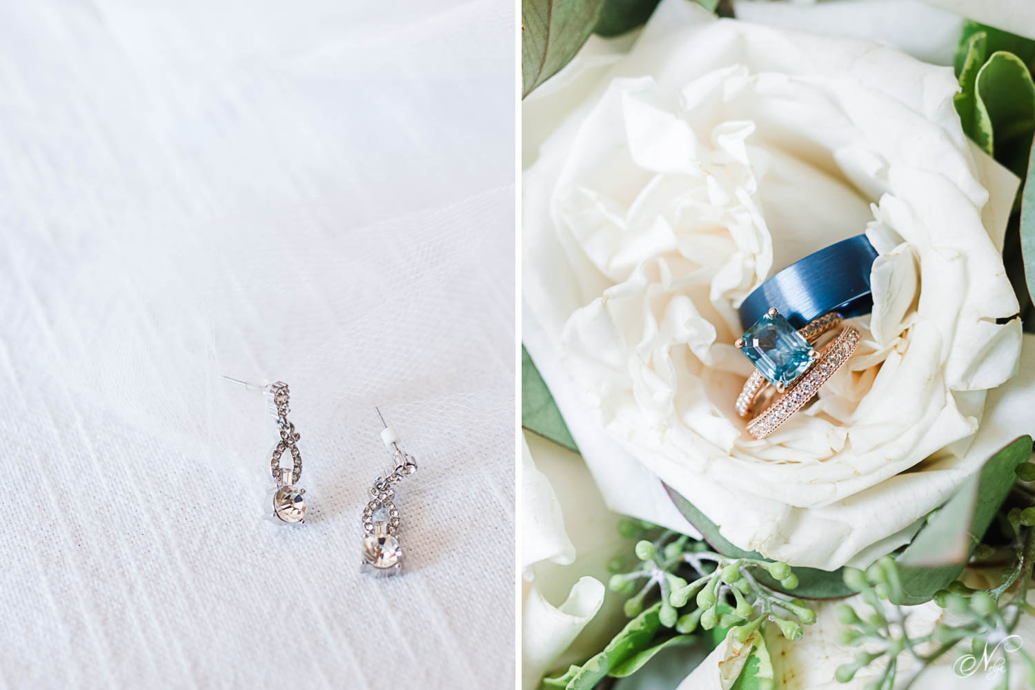 earrings and blue wedding rings and white roses