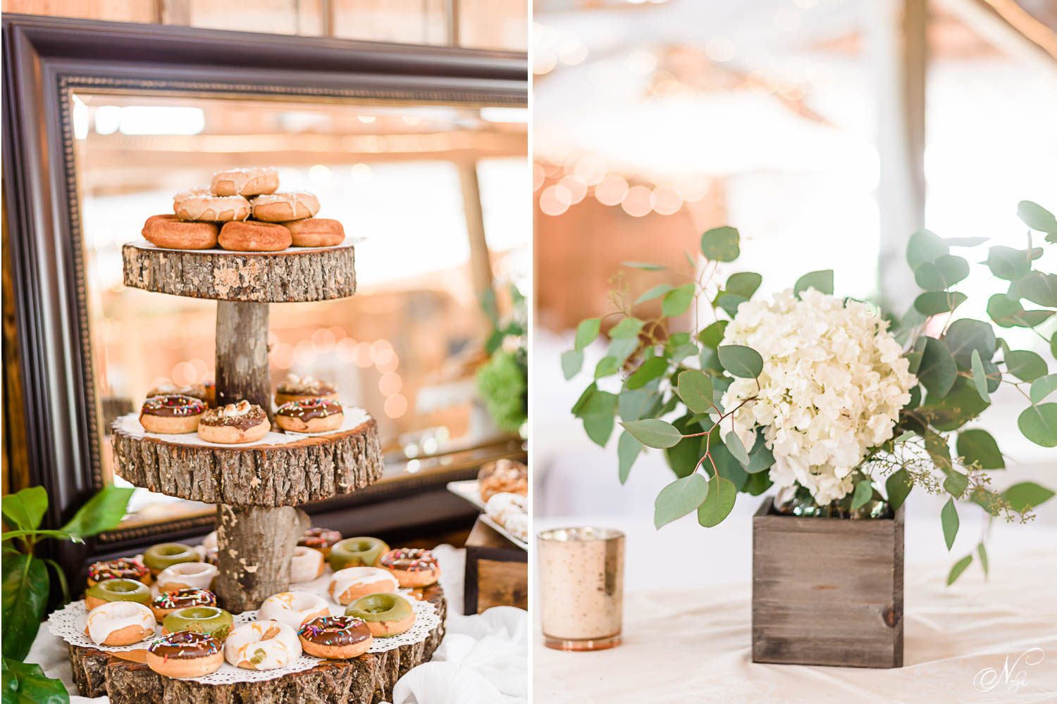 Donut stand made of rustic wood with coconut vegan donuts. And table center pieces in little wooden boxes full of hydrangeas and greenery