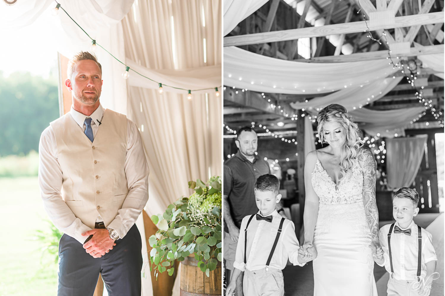Groom seeing his brise walk down the aisle. And bride walking down the aisle with her sons
