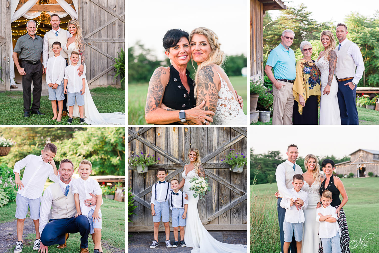 wedding guests posing in photos with the bride and groom on the Barn at Drewia Hill property in Sale Creek TN