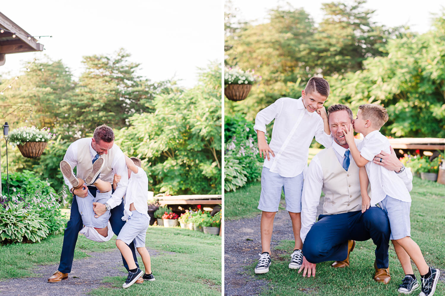 two boys attacking groom with hugs on his wedding day at the barn at drewia hill