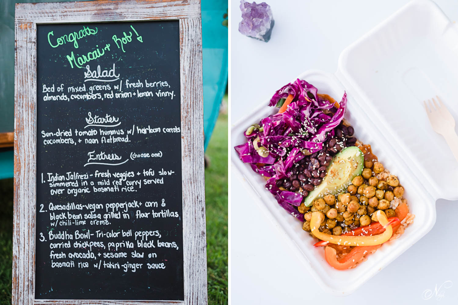 vegan chalkboard menu. And vegan budah bowl with red cabbage, chickpeas, black beans, avocado, and bell peppers.